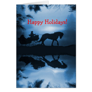 Happy Holidays Horse and Sleigh in the Snow Greeting Card