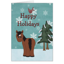Happy Holidays Horse Christmas Greeting Card