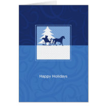 Happy Holidays Horse Drawn Sleigh in Snow Card