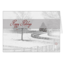 Happy Holidays - Horse Ranch- Winter Snow Scene Card