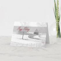 Happy Holidays - Horse Ranch- Winter Snow Scene Holiday Card