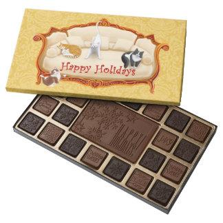 Happy Holidays House Cats Box of Chocolates