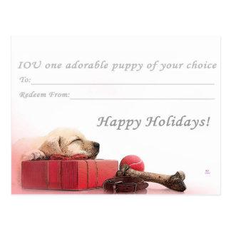 Happy Holidays I.O.U a puppy Postcard