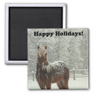 Happy Holidays Icelandic Horse Photo 2 Inch Square Magnet