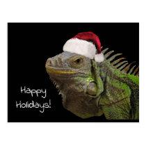 Happy Holidays Iguana Lizard with a Santa Hat Postcard