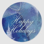 Happy Holidays in blue Round Stickers