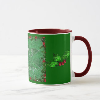Happy Holidays in Green Stained Glass Mug