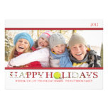 Happy Holidays in Red and White Photo Card