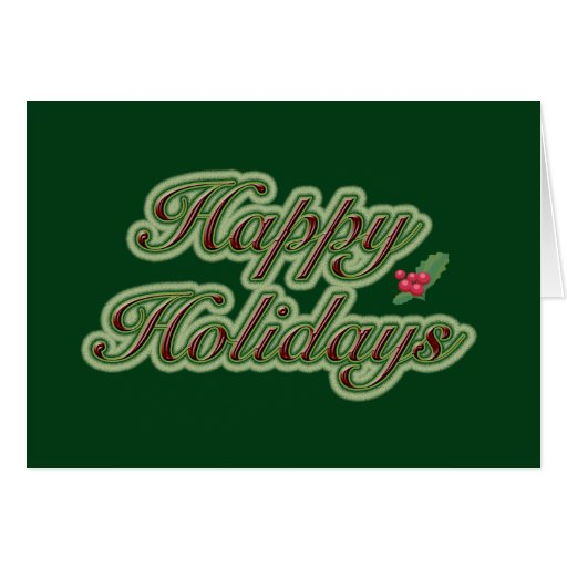 Happy Holidays in Text on Green Greeting Card