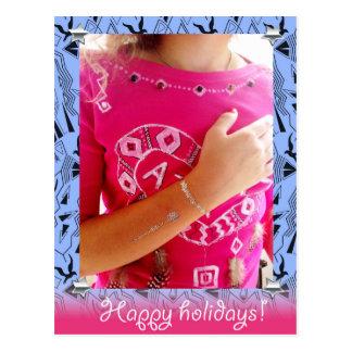 Happy holidays in tribal, boho style postcard
