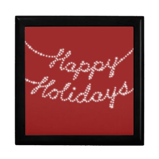 Happy Holidays in Twinkle Lights on Tile Gift Box