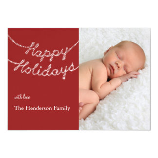 """Happy Holidays in Twinkle Lights Photo Card 5"""" X 7"""" Invitation Card"""