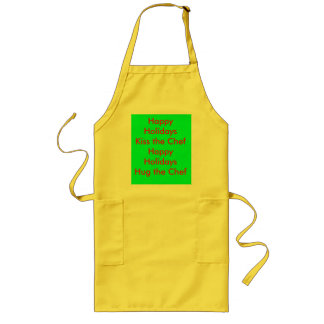 Happy Holidays Kiss the Chef Apron#2 Long Apron