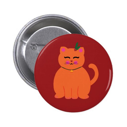 Happy Holidays Kitty 2 Inch Round Button