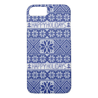 Happy Holidays- knitted snowflake pattern iPhone 8/7 Case