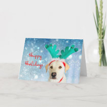 Happy Holidays Labrador Antlers Dog Cute Festive Holiday Card