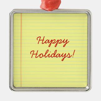 Happy Holidays legal pad Metal Ornament