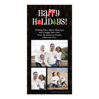 Happy Holidays Letter Icons Card