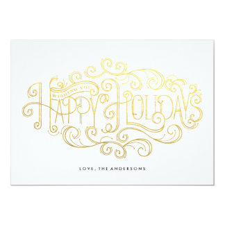 Happy Holidays Lettering Christmas Card