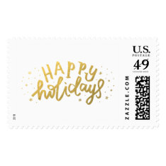 Happy Holidays Lettering Christmas Postage Stamps at Zazzle
