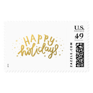 Happy Holidays Lettering Christmas Postage Stamps
