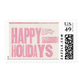 Happy Holidays Letterpress printed stamp pink