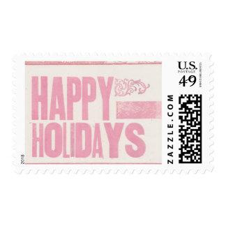 Happy Holidays Letterpress printed stamp pink