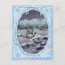 HAPPY HOLIDAYS LOG CABIN by SHARON SHARPE Holiday Postcard