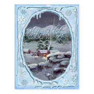 HAPPY HOLIDAYS LOG CABIN by SHARON SHARPE Postcard