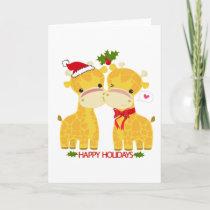 Happy Holidays Love Giraffes Holiday Card