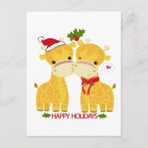 Happy Holidays Love Giraffes Holiday Postcard