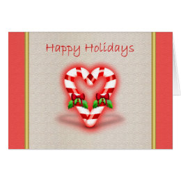 Happy Holidays love heart candy cane mistle toe ho Card