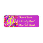 Happy Holidays Love & Peace Sign Hot Abstract Label