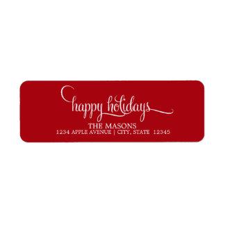 Happy Holidays Lowercase Script | Red Return Address Label