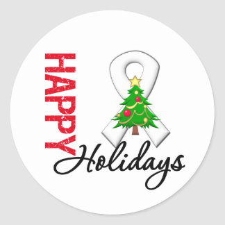 Happy Holidays Lung Cancer Awareness Classic Round Sticker
