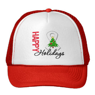 Happy Holidays Lung Cancer Awareness Trucker Hat