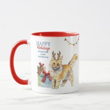 Happy Holidays MAINE COON Cat Mom Dad Christmas Mug