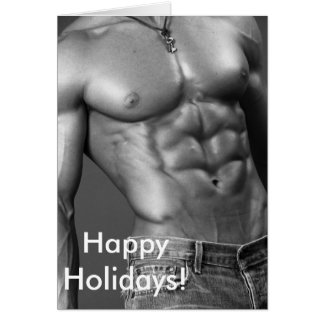 Happy Holidays - Male Bodybuilder In Jeans Card