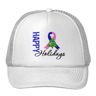Happy Holidays Male Breast Cancer Awareness Trucker Hats