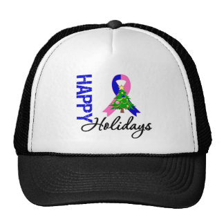 Happy Holidays Male Breast Cancer Awareness Trucker Hat