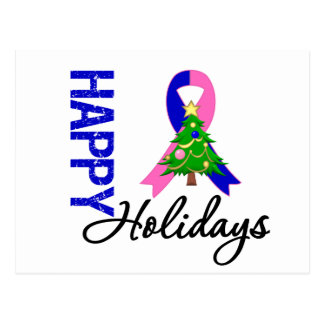 Happy Holidays Male Breast Cancer Awareness Postcard