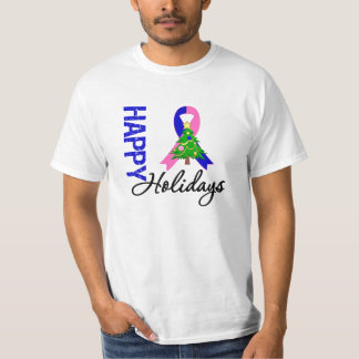 Happy Holidays Male Breast Cancer Awareness Shirts