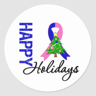 Happy Holidays Male Breast Cancer Awareness Round Sticker
