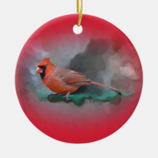 Happy Holidays Male Cardinal Songbird Ceramic Ornament