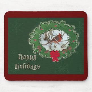 Happy Holidays Male Cardinal Songbird Mouse Pad