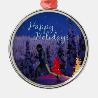 Happy Holidays - Male Runner Metal Ornament