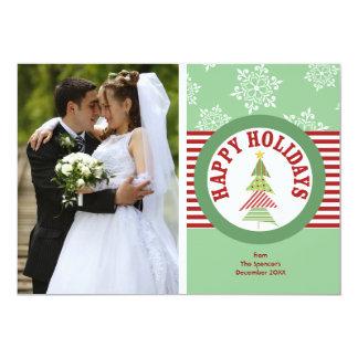 Happy Holidays Medallion Green Photo Holiday Card
