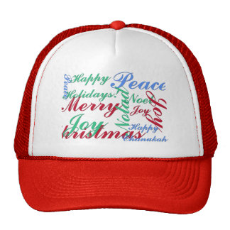 Happy Holidays, Merry Christmas, Peace, Happy Chan Trucker Hat