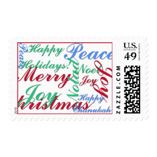Happy Holidays, Merry Christmas, Peace, Happy Chan Postage Stamp