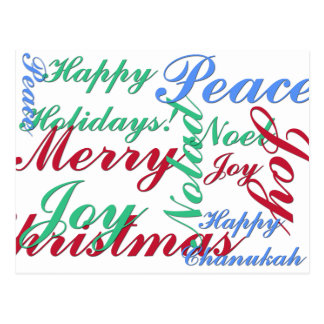 Happy Holidays, Merry Christmas, Peace, Happy Chan Postcard